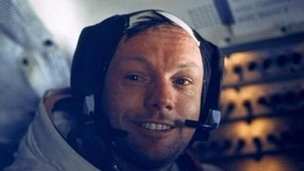 Neil Armstrong sits inside the Lunar Module while it rests on the surface of the Moon, 20 July 1969