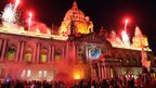 A firework display at Belfast City Hall