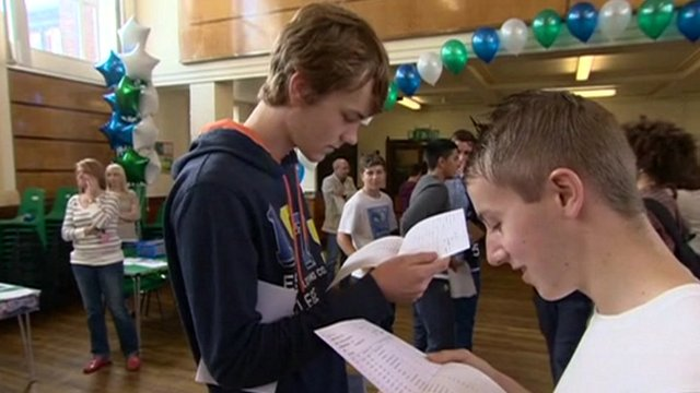 Pupils reading exam results
