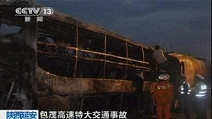 Shaanxi bus crash, from Chinese state TV