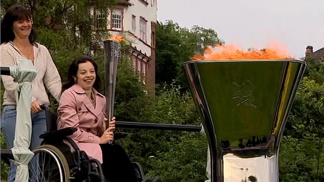 Rosie Smith with the Paralympic cauldron