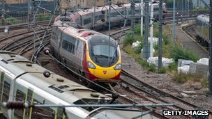 Virgin train arriving at Euston