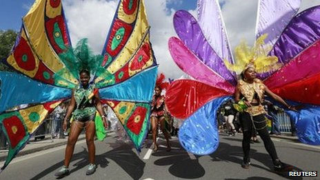 About a million people attend the Notting Hill Carnival each year