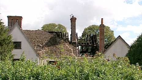 The damaged roof of Fawler Manor