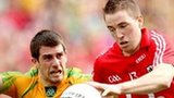 Donegal's Paddy McGrath in action against Colm O'Neill of Cork