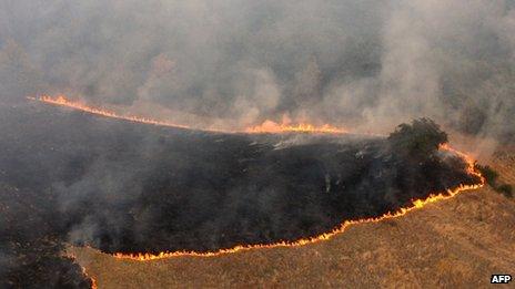 Mountain fire near town of Zitoradja (22/08/12)