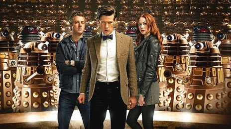 The Doctor and his assistants surrounded by Dalek