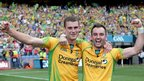 Karl Lacey and Eamonn McGee celebrate after Donegal reached the All-Ireland final for the first time in 20 years by beating Cork 0-16 to 1-11 at Croke Park