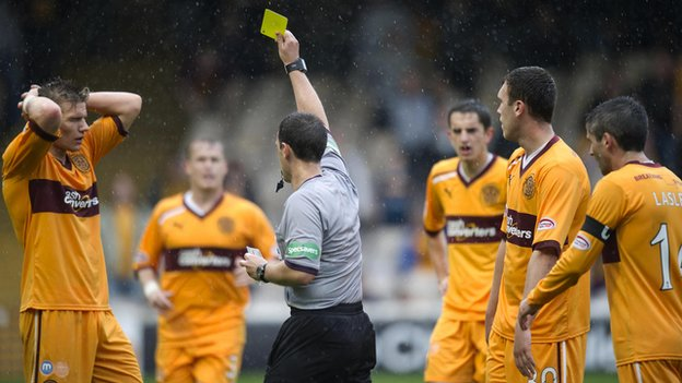 Motherwell defender Shaun Hutchinson is shown a second yellow card by referee Euan Norris