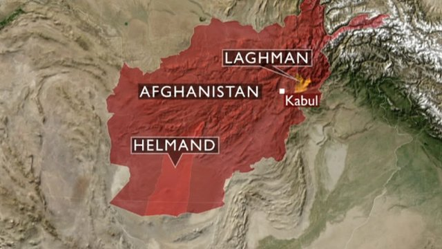 Map of Afghanistan showing where various incidents have taken place