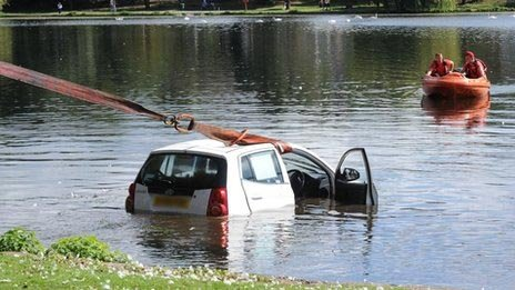Car in Roath Park Lake, Cardiff