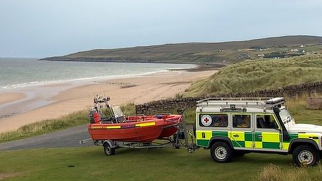 Rescue vehicle and boat at Gairloch