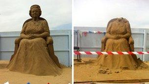 Weston Sand Sculpture, beheaded queen