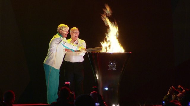 Janet Gray lights the cauldron