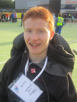 School Reporter Antony at the Meadowbank Stadium, Edinburgh