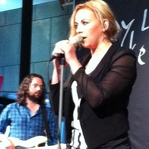 Charlotte Church performing at the Wales Millennium Centre