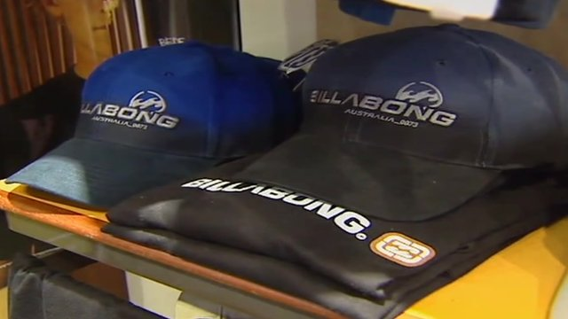 Billabong caps and shirts