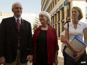 Craig, Cindy and Sarah Corrie in Haifa (28 August 2012)