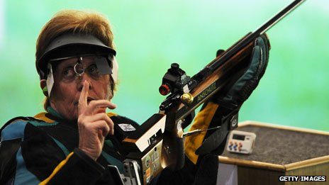 Australian shooter Libby Kosmala at the 2008 Beijing Games - she's competing in London, at the age of 70