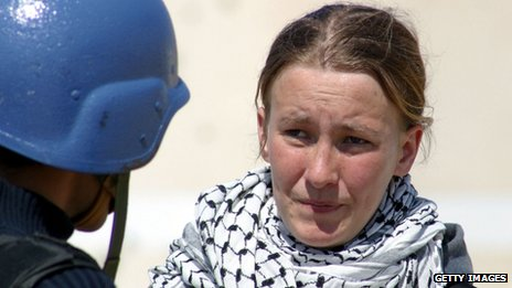Rachel Corrie is interviewed by MBC television on 14 March 2003