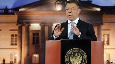 Colombian President Juan Manuel Santos speaking on 27 August 2012