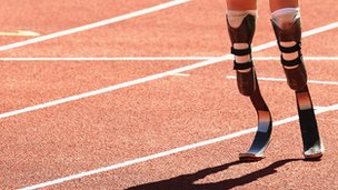 Paralympic athlete with running blades
