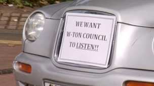 Wolverhampton taxi demo