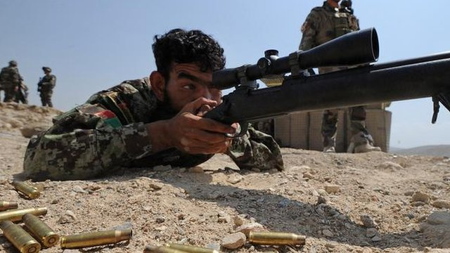A young sniper of the Afghan National Army