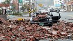 Vehicle damaged by bricks as in Wando county, South Korea