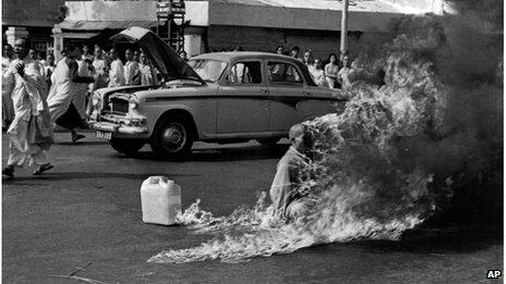 Buddhist monk Thich Quang Duc in flames, Saigon, 1963