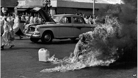 Buddhist monk Thich Quang Duc in flames, Saigon, 1963