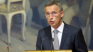 Norwegian Prime Minister Jens Stoltenberg addresses on August 28, 2012