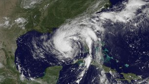 A satellite image of Tropical Storm Isaac