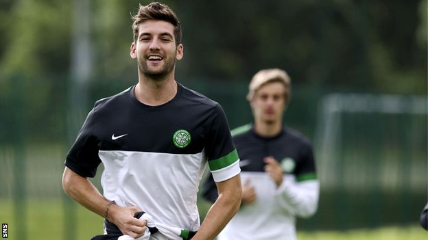 Mulgrew looks happy during training ahead of Wednesday's tie