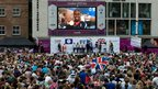 Nicola Adams on the big screen in Leeds