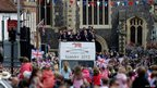 GB rowing medallists parade through Henley-on-Thames on an open-top bus