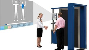 The body scanner, alongside the image the security officer will see