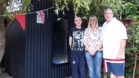 The Rands family with their air raid shelter