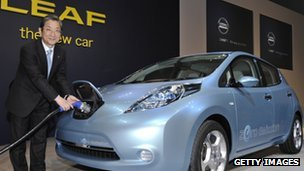 A Nissan executive with a battery cord posing next to the company's electric vehicle 'Leaf'