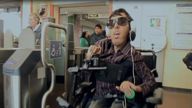 Wheelchair user at London Underground station