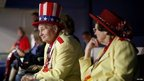A couple from Georgia dressed in American flag hats at the Republican National Convention in Tampa, Florida 28 August 2012