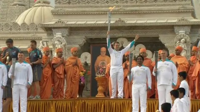The flame on the steps of the Shri Swaminarayan Mandir temple
