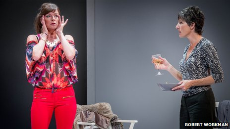 Doon Mackichan and  Tamsin Greig (Hilary) in Jumpy   (Picture: Robert Workman)
