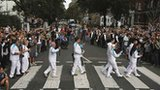 Torchbearers at Abbey Road crossing