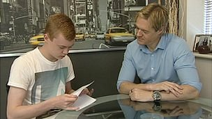 Sheridan Sidlow and his father Mark check GCSE English grade 