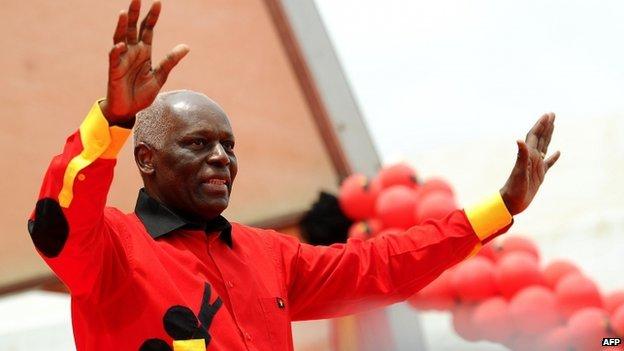 Angolan President Jose Eduardo dos Santos greets a crowd on 29 August  2012