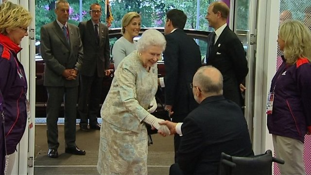 The Queen arrives at the Olympic Park