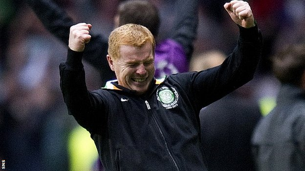 Celtic manager Neil Lennon celebrates the 2-0 win over Helsingborgs