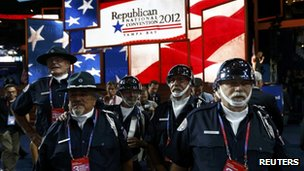 Security guards on the floor of the Republican National Convention in Tampa, Florida 29 August 2012