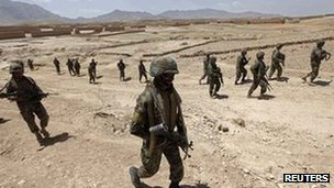 Afghan army soldiers on patrol (file image from 21 May 2012)